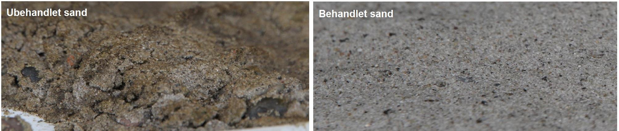 Sand før og efter Fortums MOPS-behandling